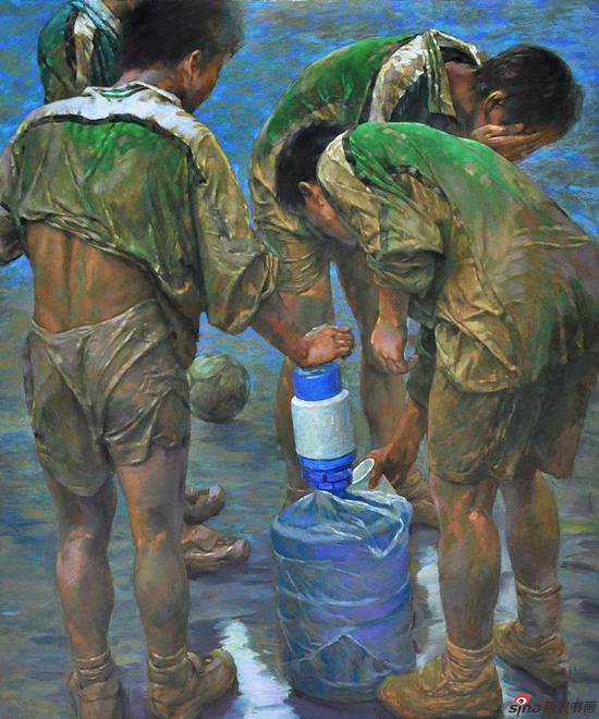 杨广生作品《水 足球》100X120cm 2002