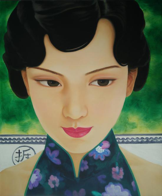 中国媚娘 布面油画120x100cm2017