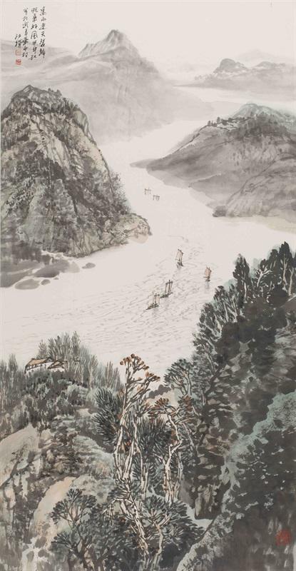 10。施江城《远水连天碧》中国画 128cm×67cm 2004年 湖北美术馆藏