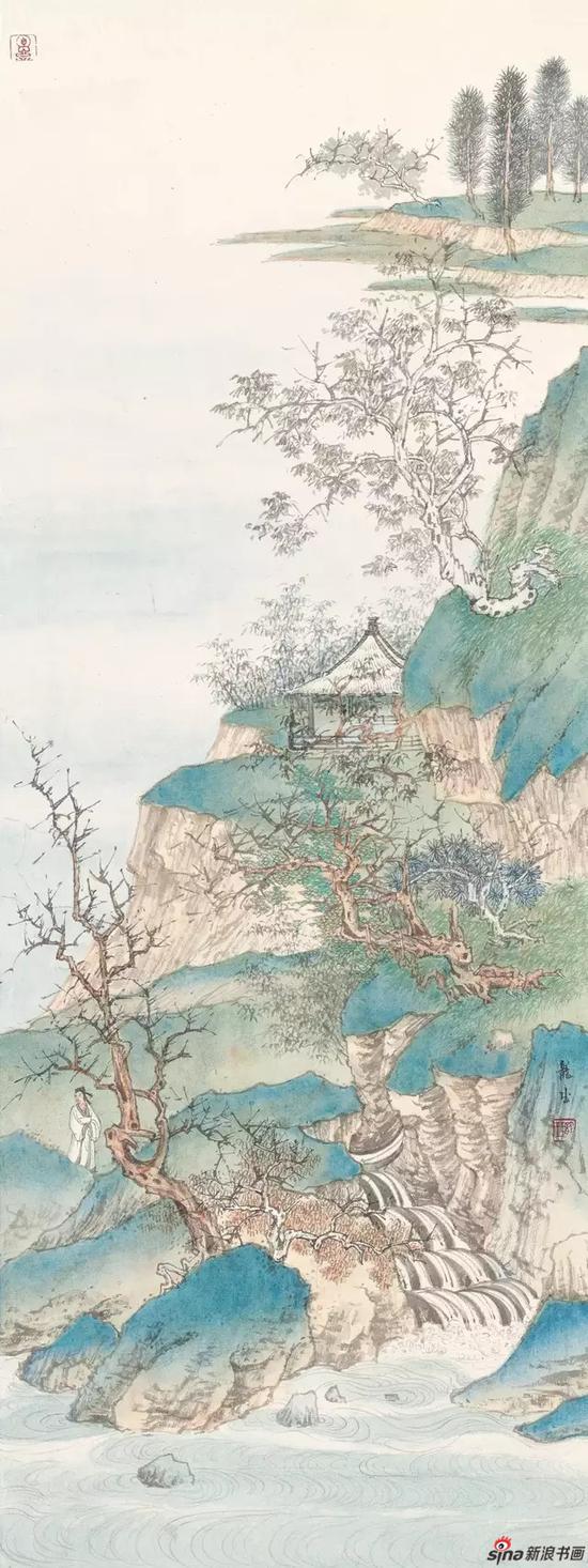 《临江秋水》 纸本设色 93×35cm 2018年