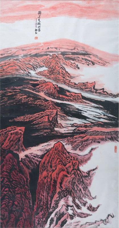 11。魏扬《国运气脉兴盛》中国画 244cm×133cm 2005年 湖北美术馆藏