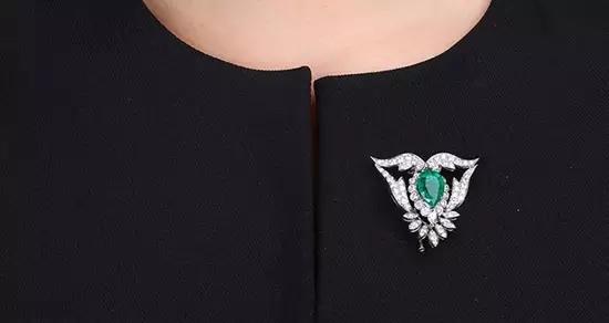 1940年代 祖母绿可拆卸胸针项链