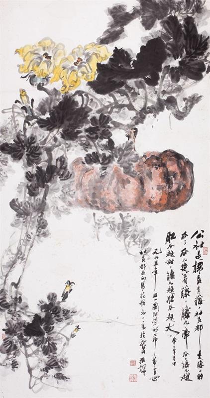 3。张振铎《公社常青藤》中国画 175cm×92cm 1965年 湖北美术馆藏