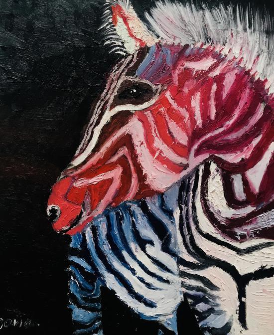 吴大有 8岁 斑马 油画