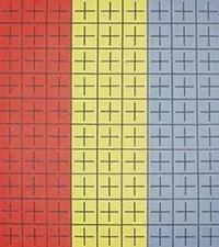 丁乙《十示Ⅰ》布面丙烯 1988年 200x180cm。