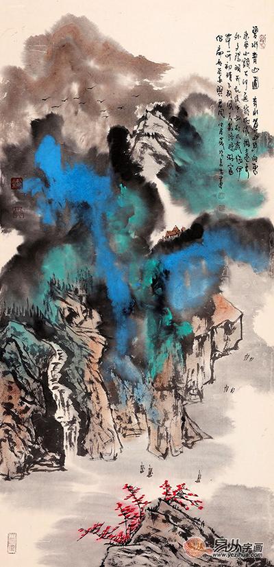 张若古·《碧水青山图》 (139*70cm)[作品来源:易从网]