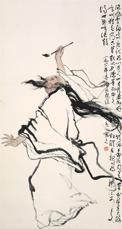 梁长林 张旭醉酒图182cm×97cm 1981年