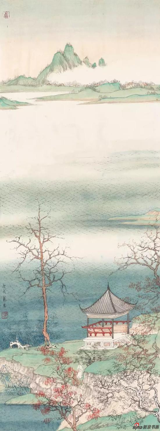 《秋江石亭》 纸本设色 93×34.5cm 2018年