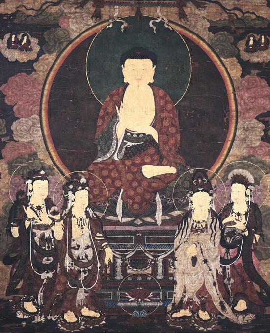 《释迦摩尼说法图与四大菩萨》 重彩设色绢本立轴 235x198cm 明代 十五世纪