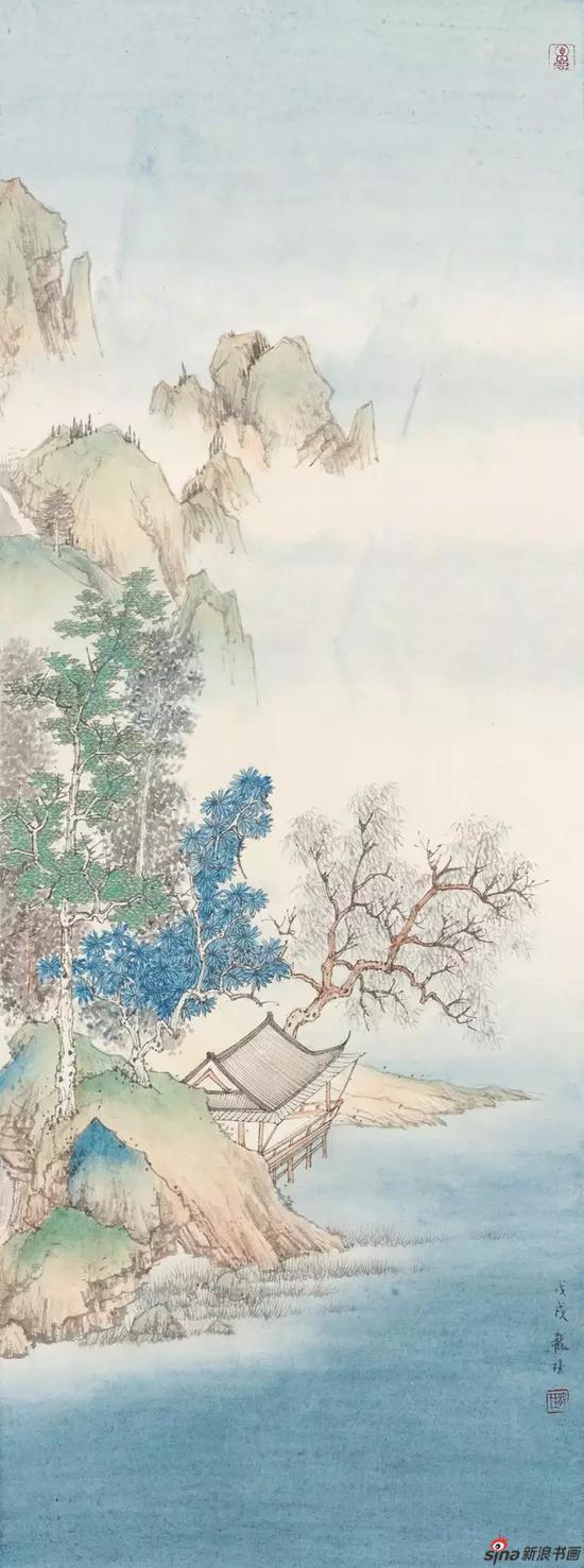 《瑶水碧阁》 纸本设色 93×34.5cm 2018年