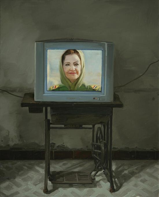 2011-2009  100x80西湖牌缝纫机上的肖像 Portrait on a Xihu-brand Sewing Machine