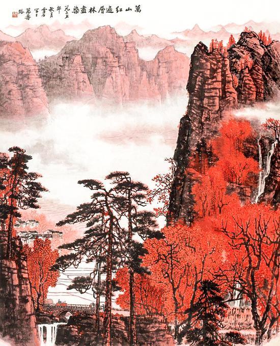 白雪石 万山红遍 118×97 cm