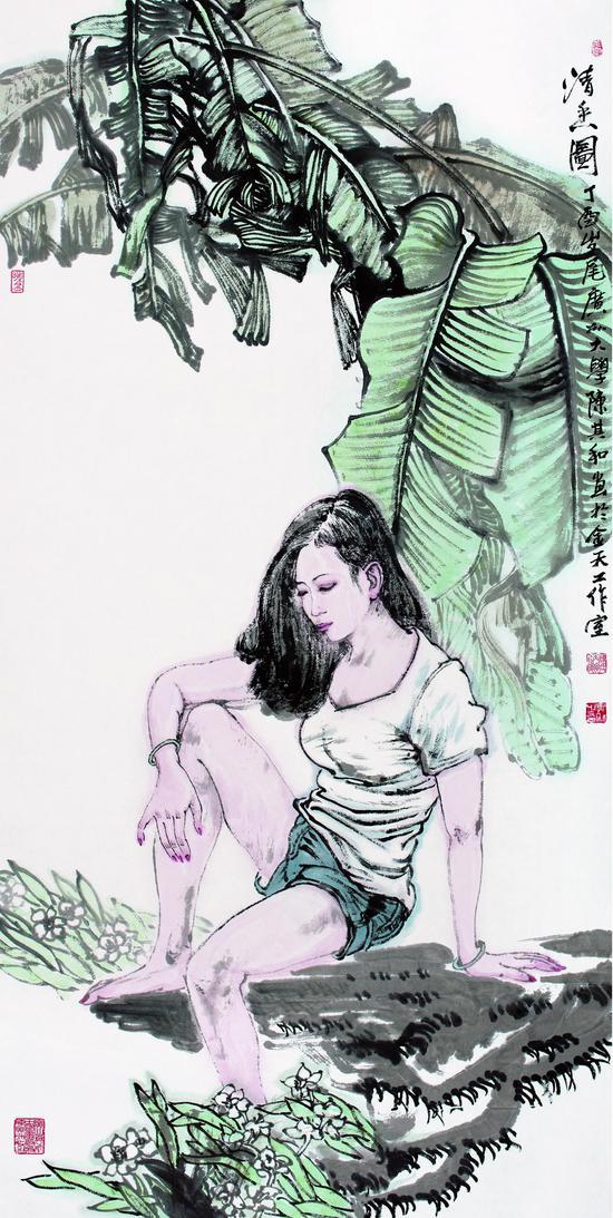 清香图 纸本水墨 140X70 2017年