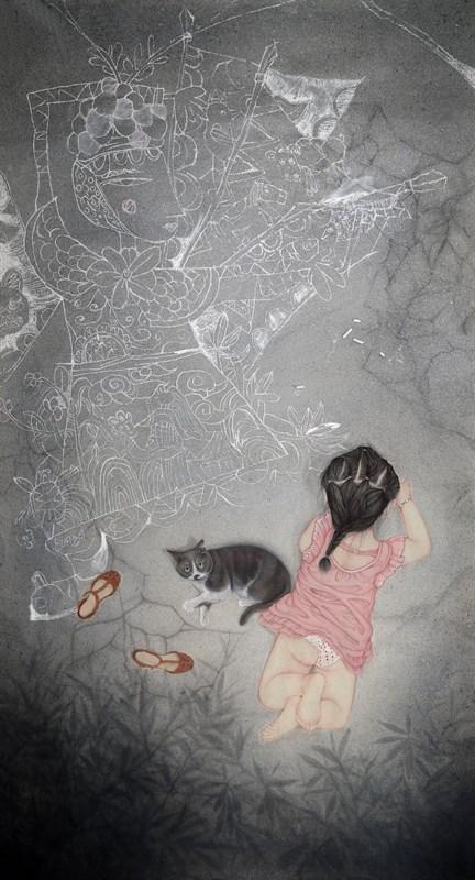 赵辰飞《花寂,戏》240×120cm纸本设色2015