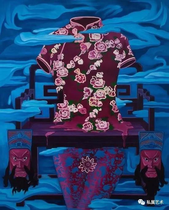 丁秋发 旗袍 (油画)