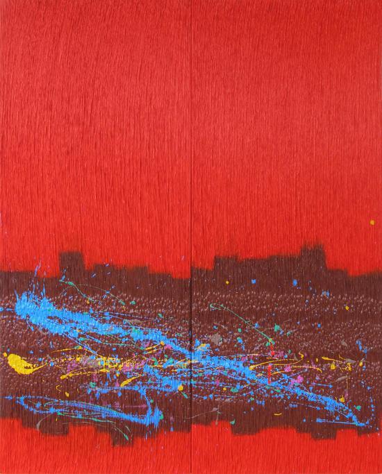 郑忠和 《交织--红雨满天飞》2015布面综合材料丙烯150cmX120cm
