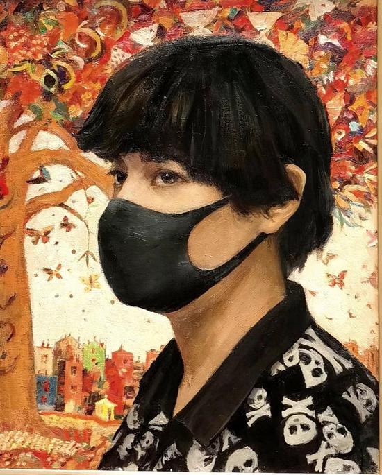 张祖英《疫情》布面油画|60×80cm|2020
