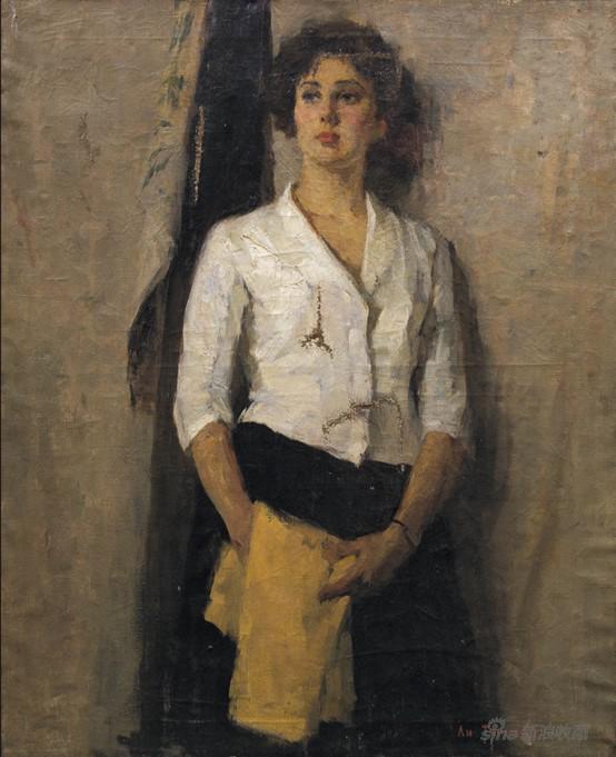李天祥 《俄罗斯女青年》97.5×78cm布面油画 1957年