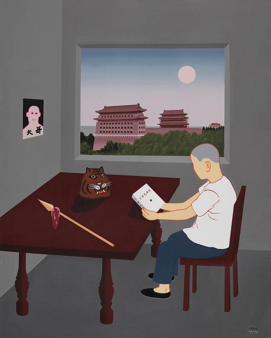 陈联庆 笑面虎,布面丙烯,80x100,2018年