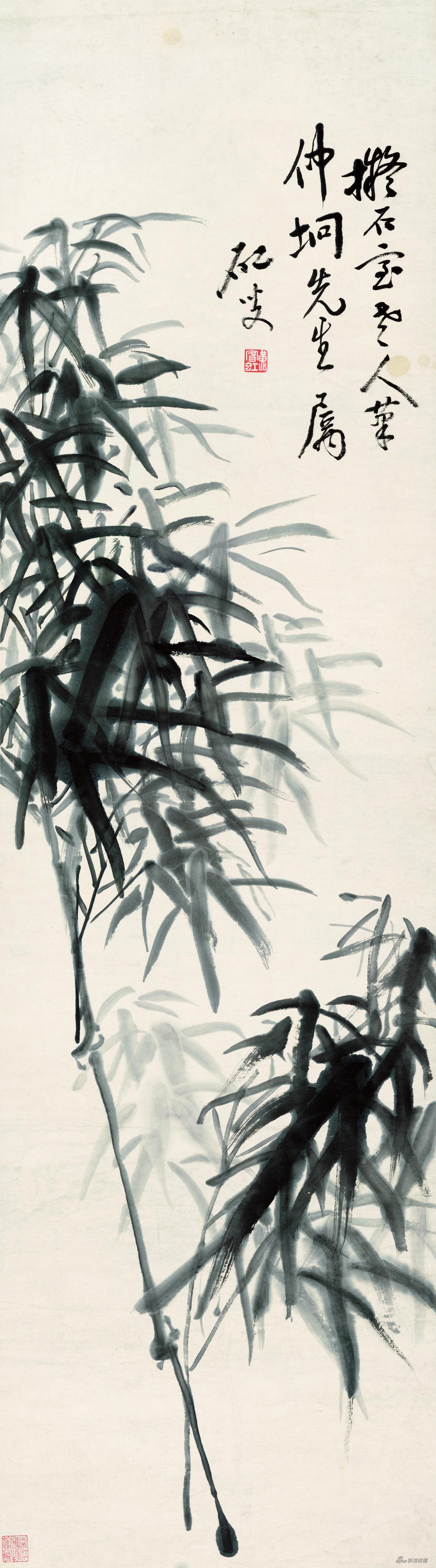 墨竹 黄宾虹 115cm×33cm 无年款 纸本水墨 浙江省博物馆藏