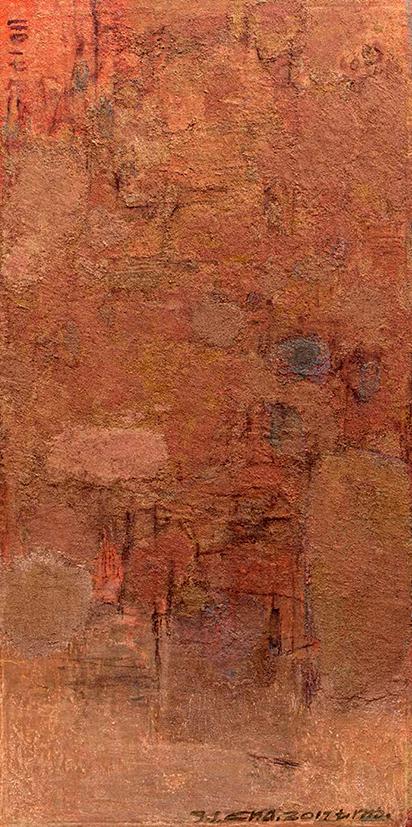 查国钧作品  混沌世界3  布面综合材料  137X68cm2018