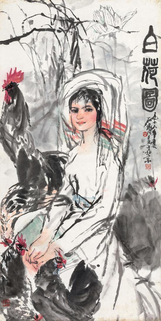 Lot 781  石齐(b.1939  白荷图  题识:白荷图。一九七八年夏,石齐画于北京。  钤印:石齐之玺、齐、石齐画  139×70 cm?约8.9平尺  RMB:80,000-120,000