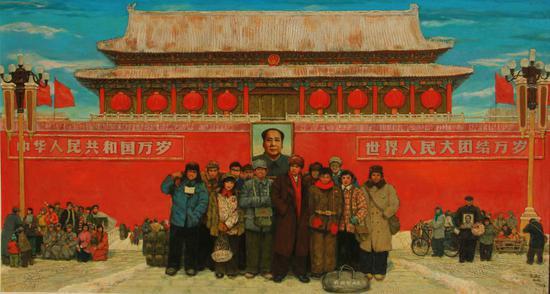 孙滋溪、孙路   天安门前七十年代   布面油画   155×285cm 2003