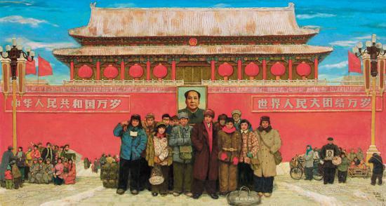 天安门前七十年代   布面 油画   2001年   155cm×285cm