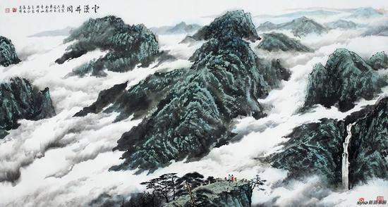 王林森作品《云漫井冈》180X97cm 2010