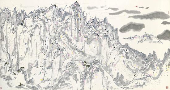 吴冠中《日照群峰》  设色纸本 镜框 一九八三年作 96 x 179公分 估价:1,200万 – 1,800万港元