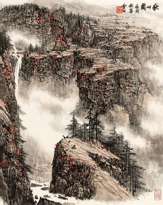 白雪石 秋山图 69×55 cm