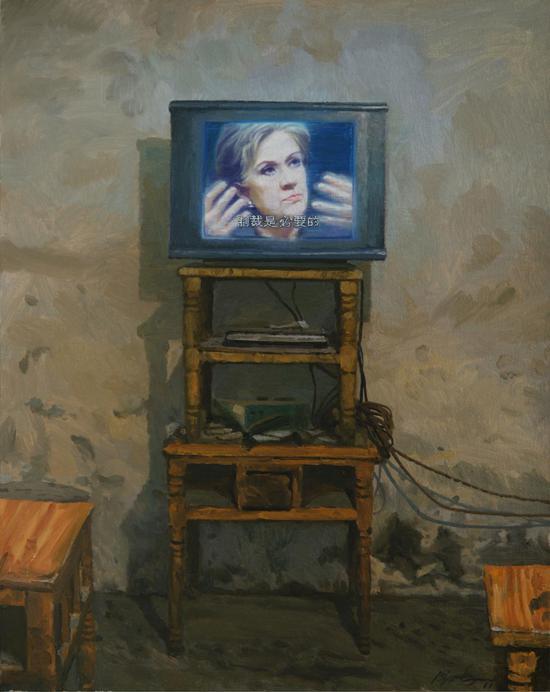 2011  100x80  黄色家具上的肖像 Portrait on Yellow Furnitures