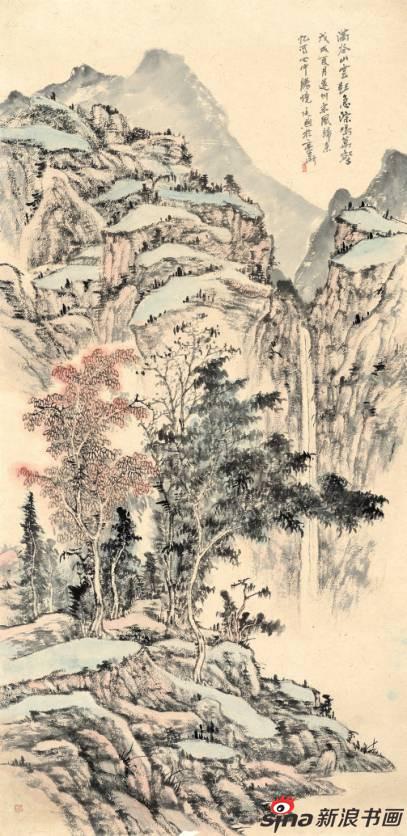 傅廷熙作品《满谷山云起 急淙鸣万壑》98X198cm