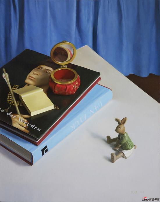 张健作品《威登与镜子》50x40cm 布面油画