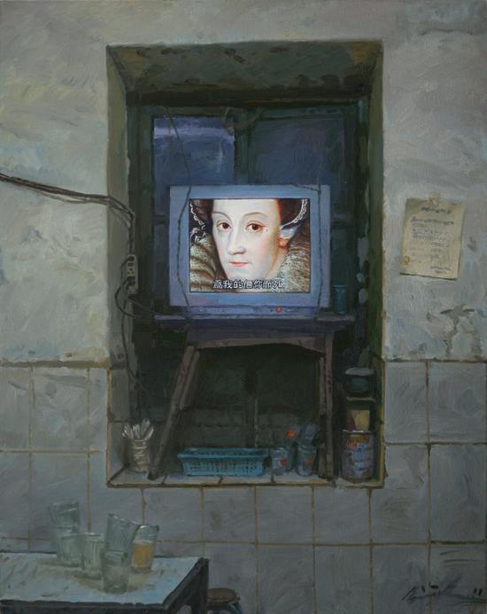 2011  100x80  窗台上的肖像1 Portrait on a Windowsill 1