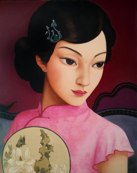 中国媚娘系列100x80cm布面油画2014