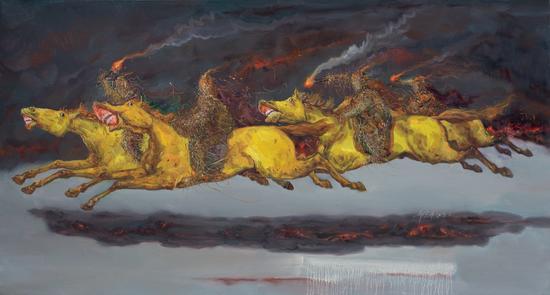 邱光平《穿越》80x150cm,布面油画,2018年