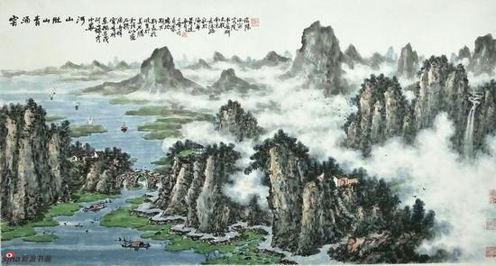 《云涌青山壯江河》,69cmX136cm,2016年,黄廷海作