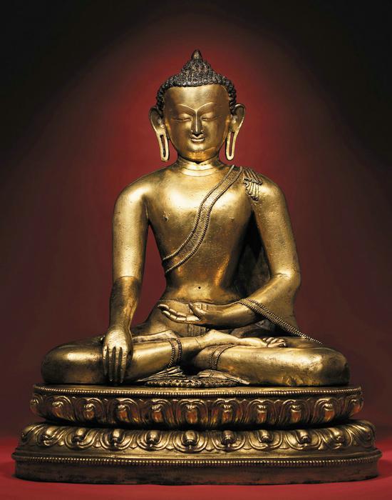 14/15世纪 铜鎏金释迦牟尼   H:55.5cm