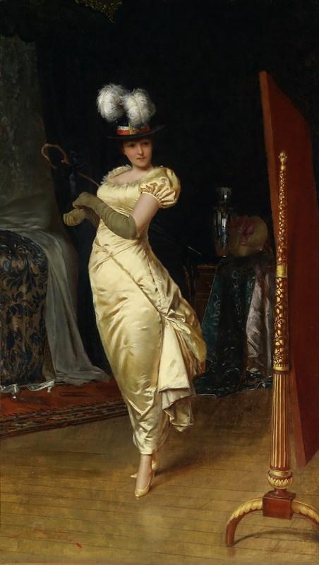 《出门前的妆扮》弗雷德里克·查尔斯·苏尔各雷 (1825-1879) 布面油画 65×37.5cm