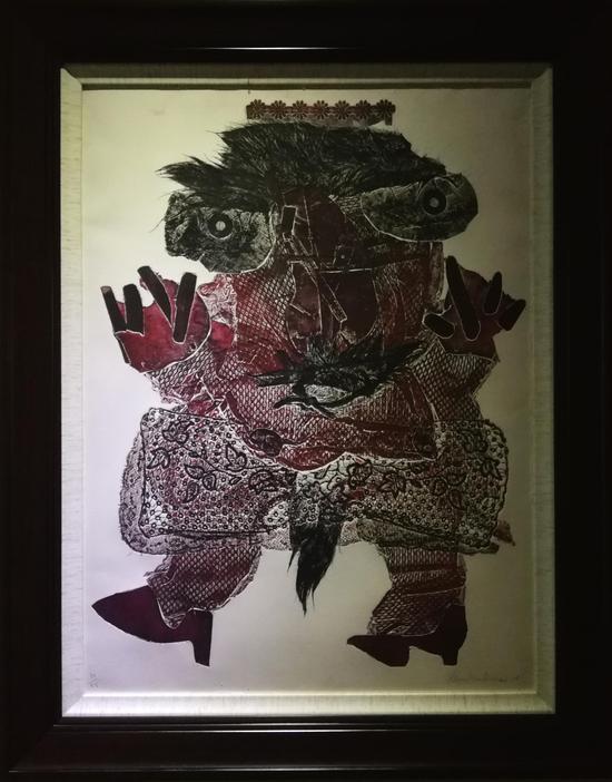 欧洲界外艺术主要推动者阿兰·布尔保奈的作品 版画75cm × 55cm 法国