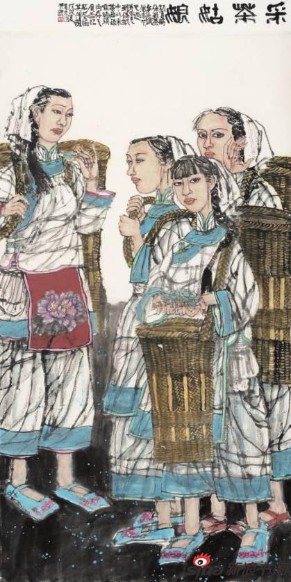 周京山作品《采茶姑娘》90X180cm