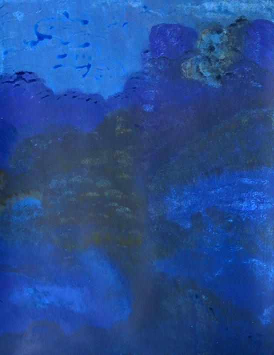 姜丹丹  《蓝色的山》 纸上丙烯 65x50cm 2016
