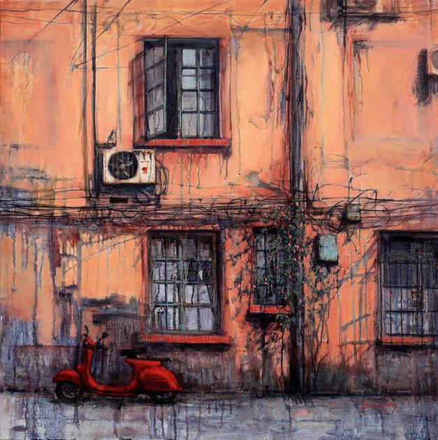 小红车 60x60cm 布面油画