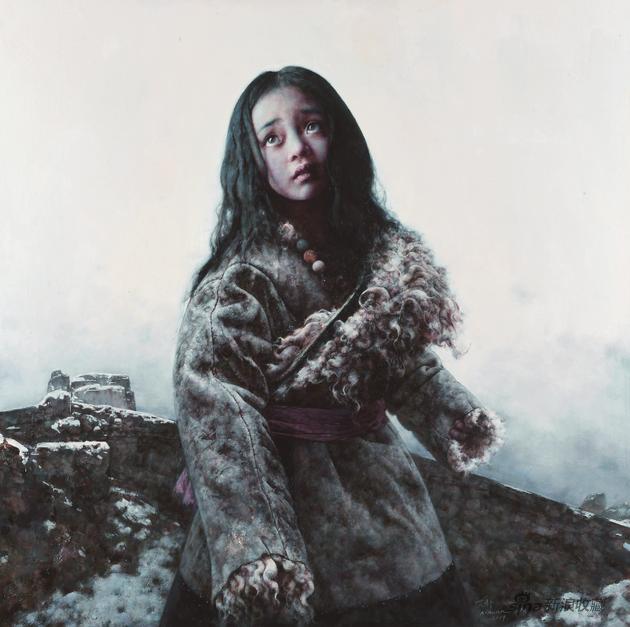 艾轩 颓垣往事 布面油画120×120cm 2019 年