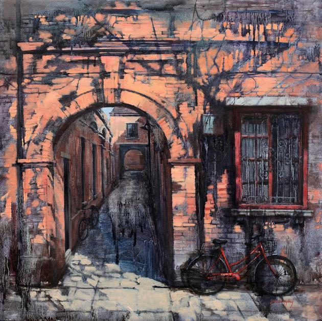 上海衖堂 60x60cm 布面油画