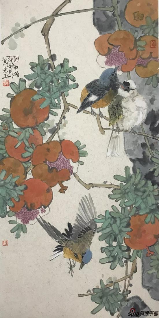 石榴小鸟 设色纸本 70×36cm