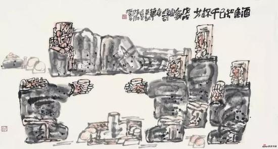 《酒逢知己千杯少》 97cm x 179cm 杨晓阳 江苏省中国画学会顾问