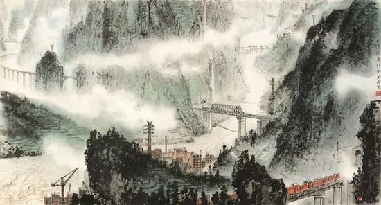 金志远 大渡河展新图20世纪70年代,65×120cm,纸本水墨设色,中国画