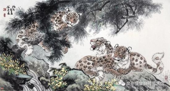 三豹图 97cmx180cm